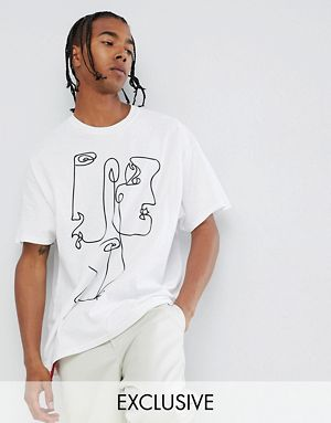 Reclaimed Vintage inspired oversized t-shirt with face print in white $21.50