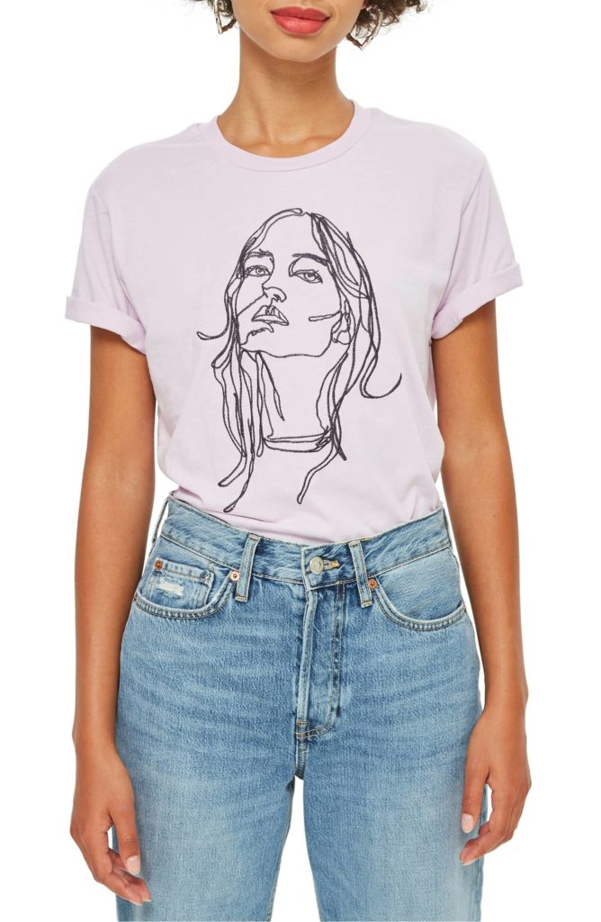 Tee & Cake Embroidered Sketch  face tee $38.00