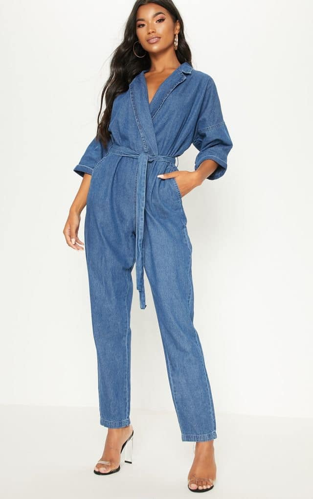 DENIM MID WASH UTILITY JUMPSUIT $55.00