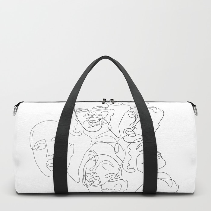 Lined Face Sketches Duffle Bag $50.00