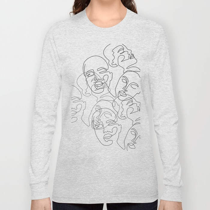 Lined Face Sketches Long Sleeve T-shirt $29.99