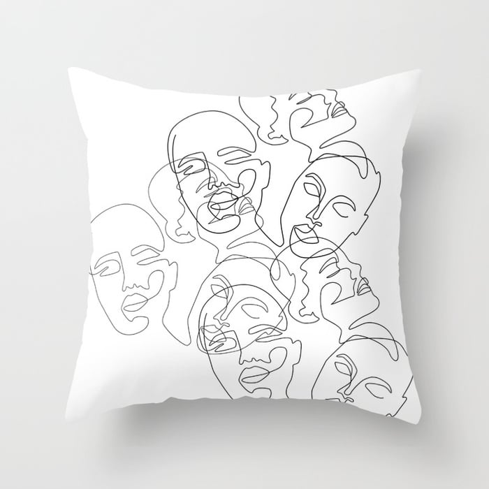 Lined Face Sketches Throw Pillow $41.99