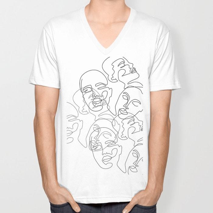 Lined Face Sketches Unisex V-Neck $24.99