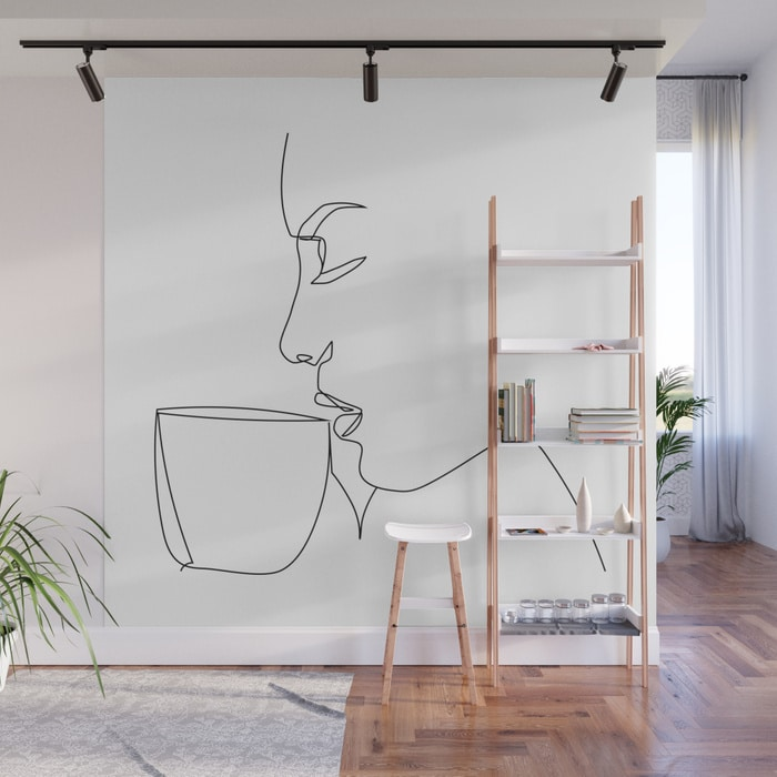 """Profile Collection"" - Woman Drinking Coffee Wall Mural $299.99"