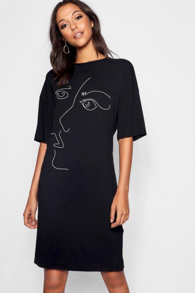 Tall Scribble Face Oversized T-Shirt Dress $24.00