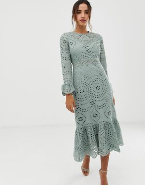 broderie maxi dress with pep hem and fluted sleeves $119.00
