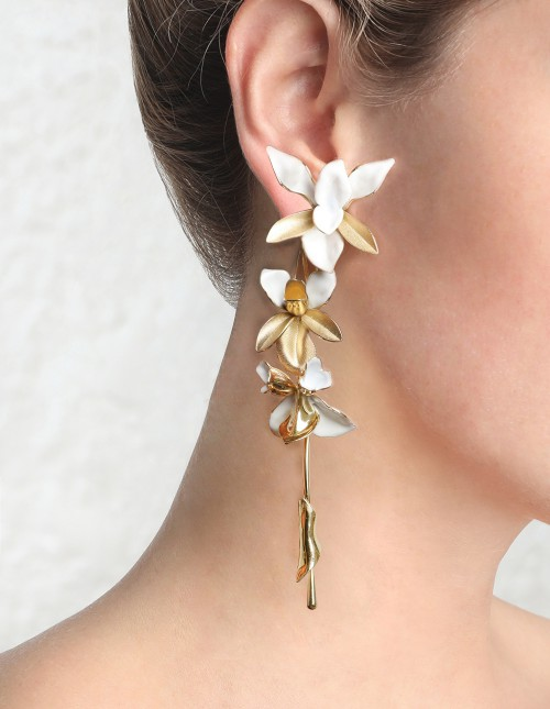 TRI ORCHID STATEMENT EARRING $395.00