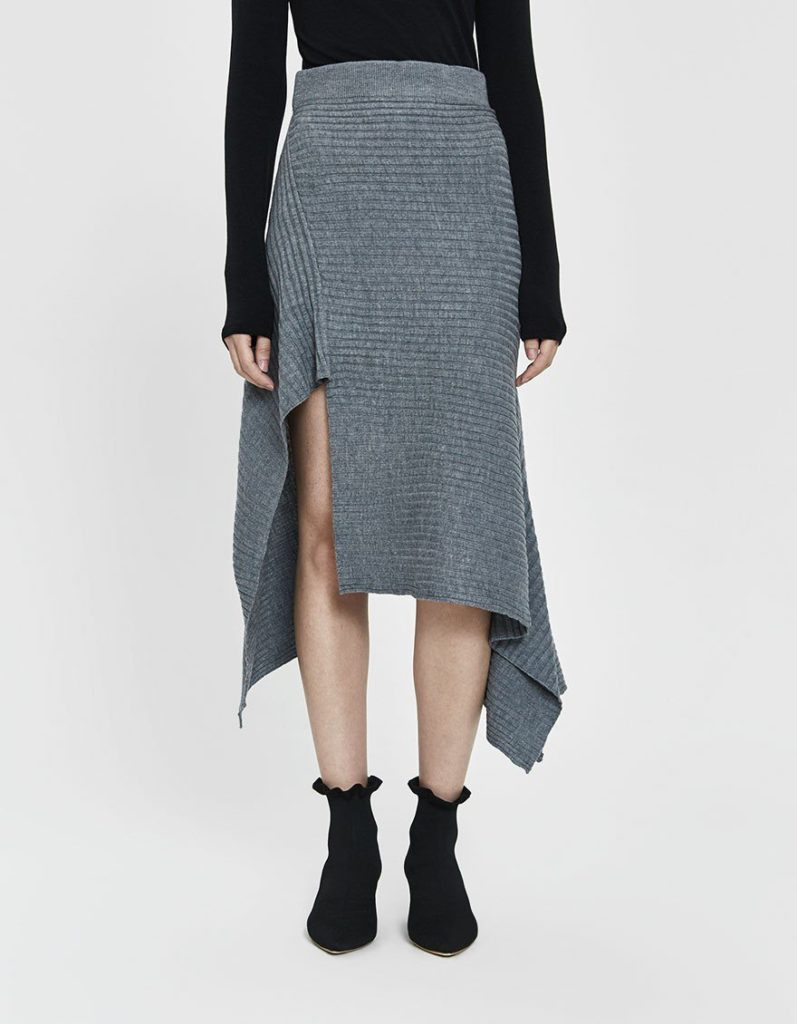 Stelen Cathy Asymmetrical Knit Skirt in Grey $48