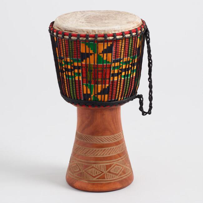 Djembe Drum With Kente Cloth $299.99