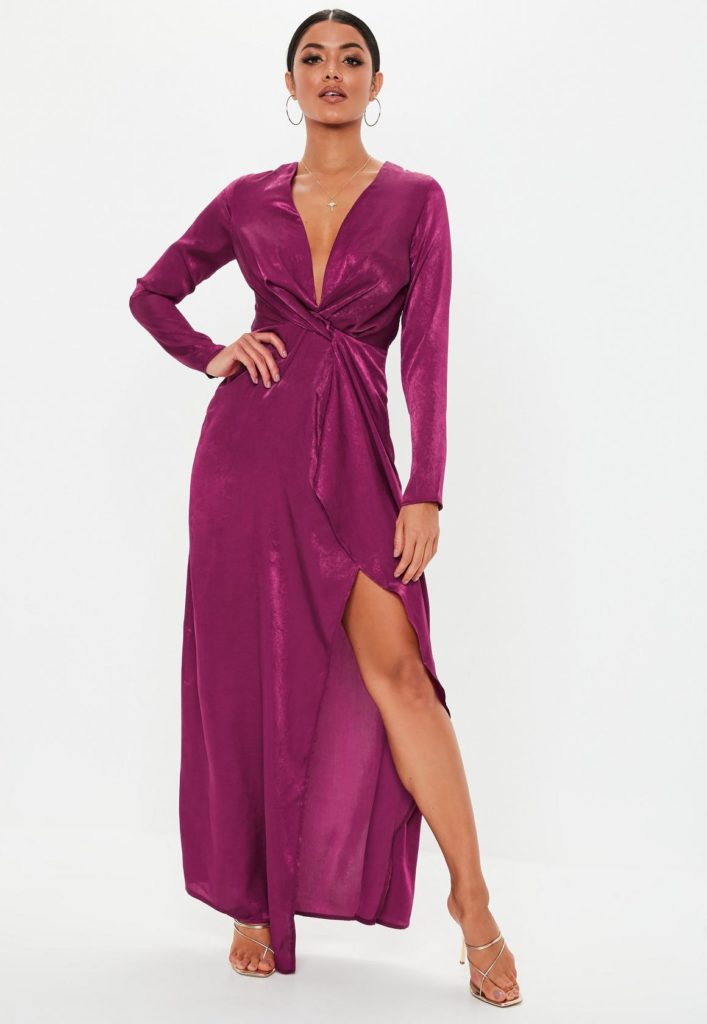 raspberry long sleeve twist wrap maxi dress $52.00