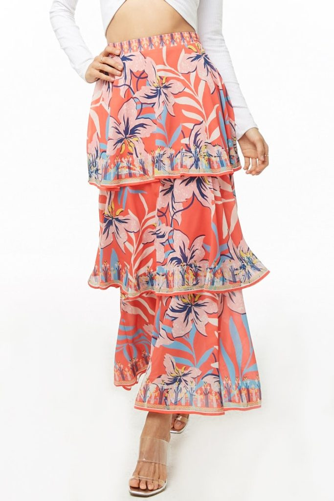 Floral Print Tiered Maxi Skirt   $42.00