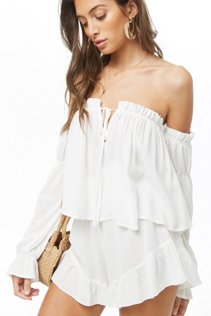 Off-the-Shoulder Top & Shorts Set $38.00
