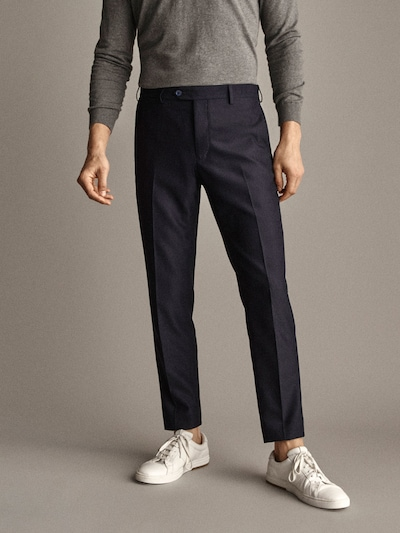 SLIM FIT TEXTURED NAVY BLUE WOOL TROUSERS $120.00
