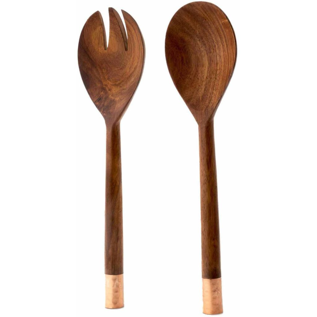 Urban Farm 2-Piece Mango Wood/Copper Salad Fork & Spoon Set $17.86