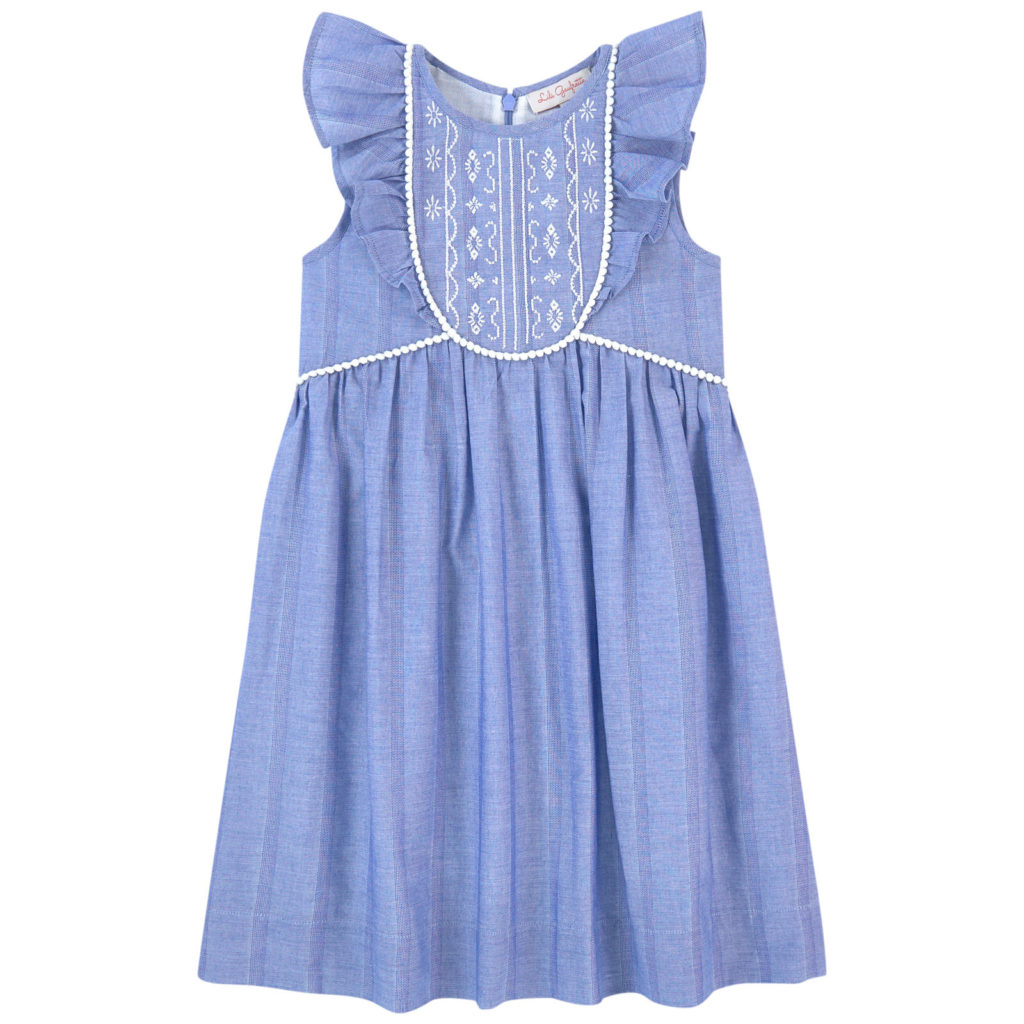 LILI GAUFRETTE Embroidered chambray dress $103