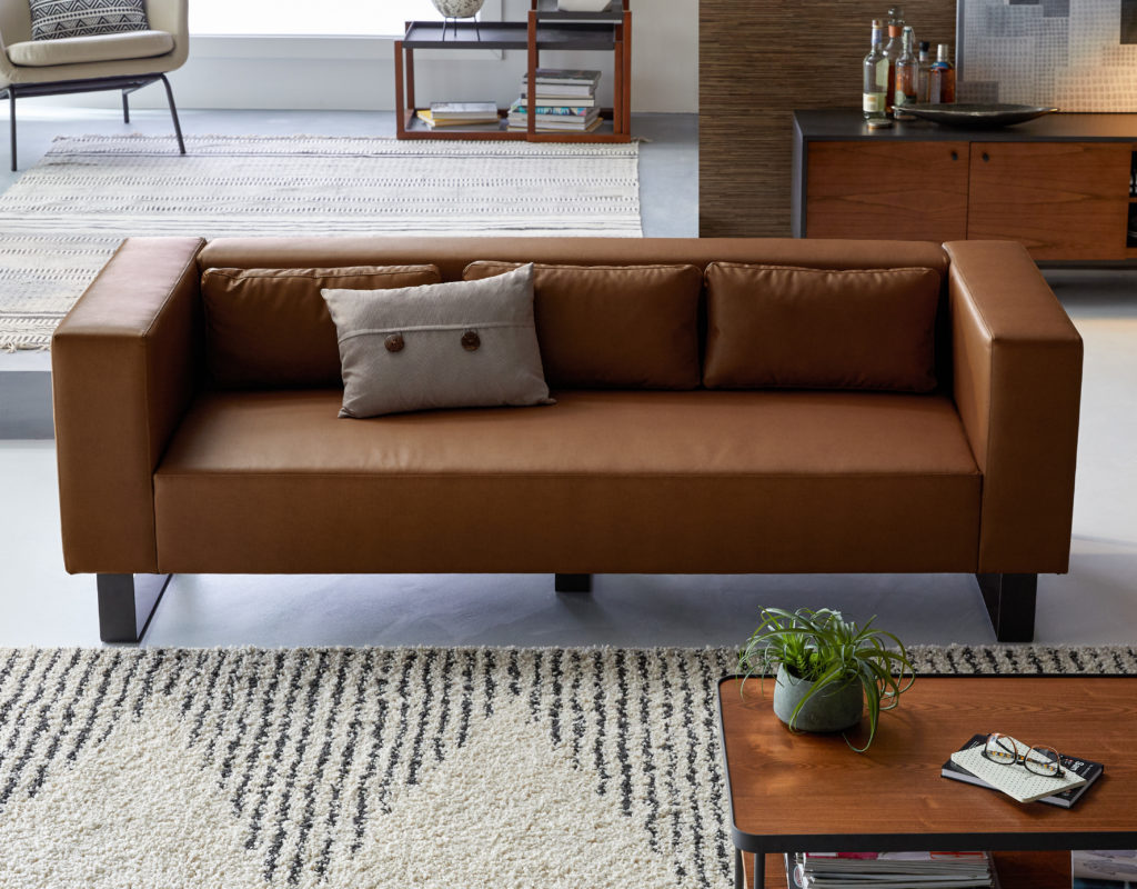 "Refined Industrial Atoll Metal Base 87"" Sofa $899.00"