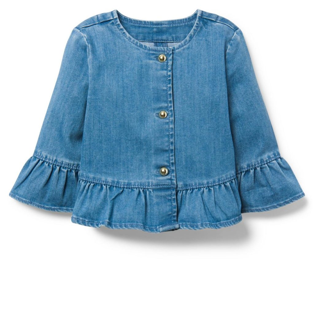 RUFFLE DENIM JACKET $44.00