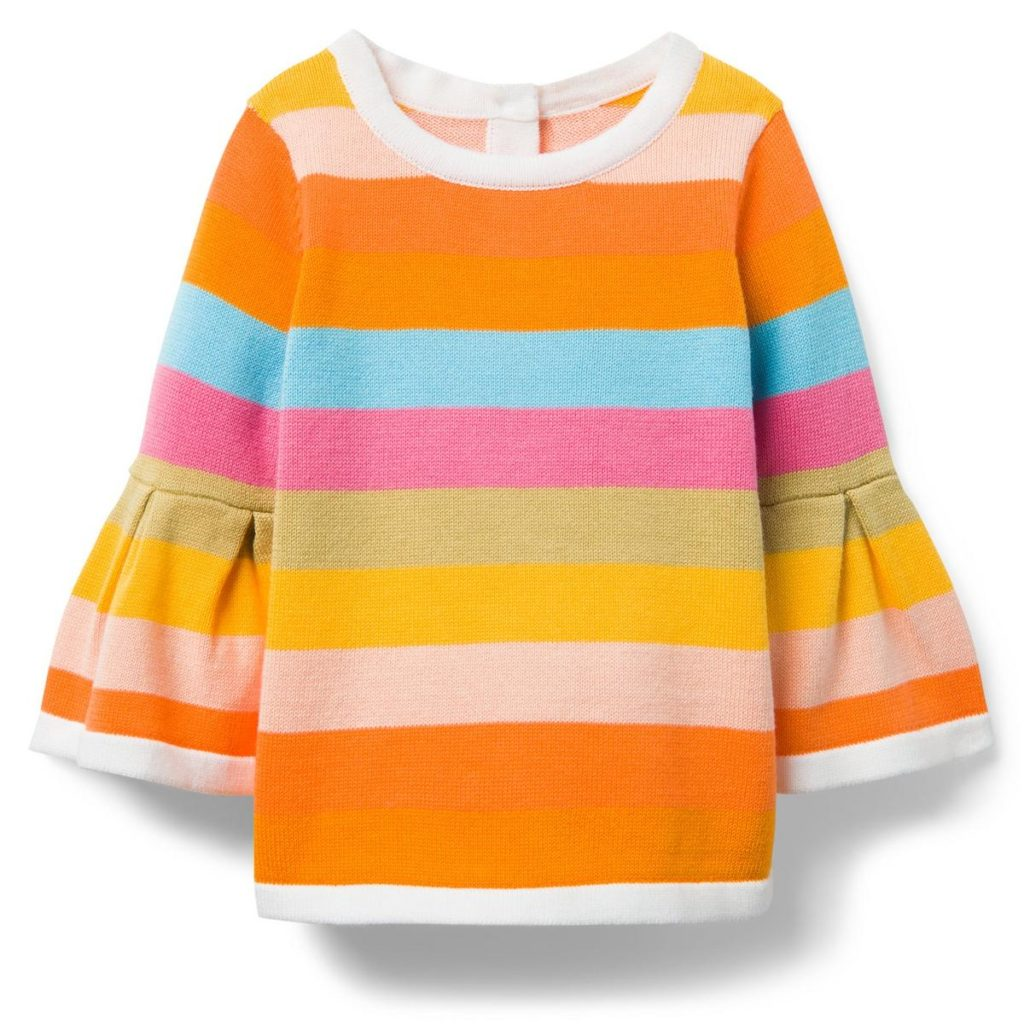 STRIPED BELL SLEEVE SWEATER $43.20
