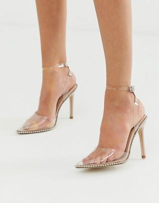 Pixie pointed high heels with studs $56.00