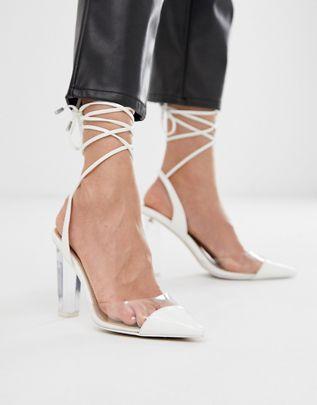Pucker Up tie leg pointed high heels $56.00