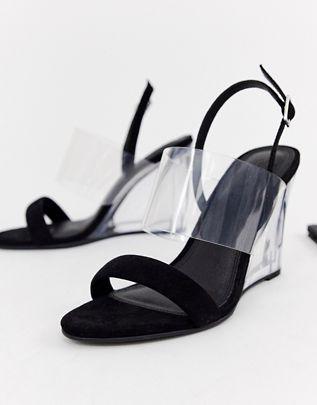 Hastings clear heeled wedges in black $64.00