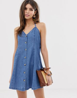 denim halter neck mini dress with buttons in midwash blue $35.00