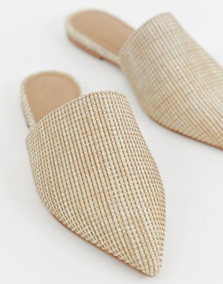 Lorne pointed mules in natural $29.00