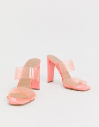 Hayward clear heeled mule in pink $56.00