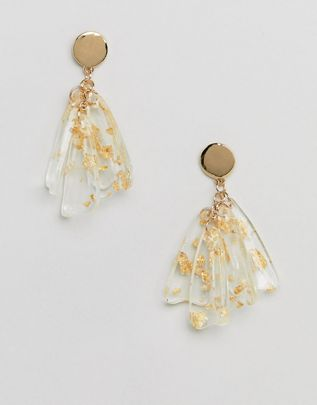 Liars & Lovers trapped gold glitter resin earrings $19.00