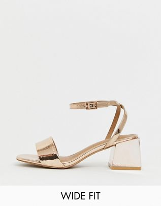 Wide Fit Honeywell block heeled sandals $40.00