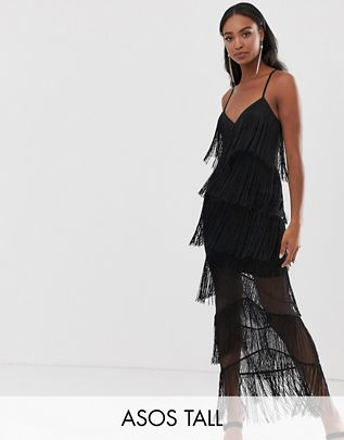 Tall fringe mesh strappy maxi bodycon dress $76.00