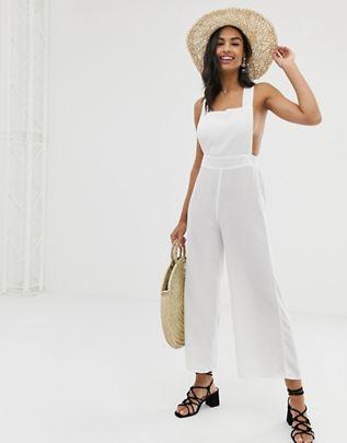 Fashion Union fiesta white beach jumpsuit in white $51.00