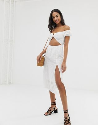 Union paella cold shoulder beach dress in white $48.00