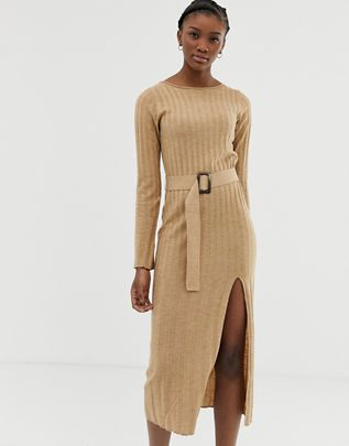 belted knit midi dress with split $56.00
