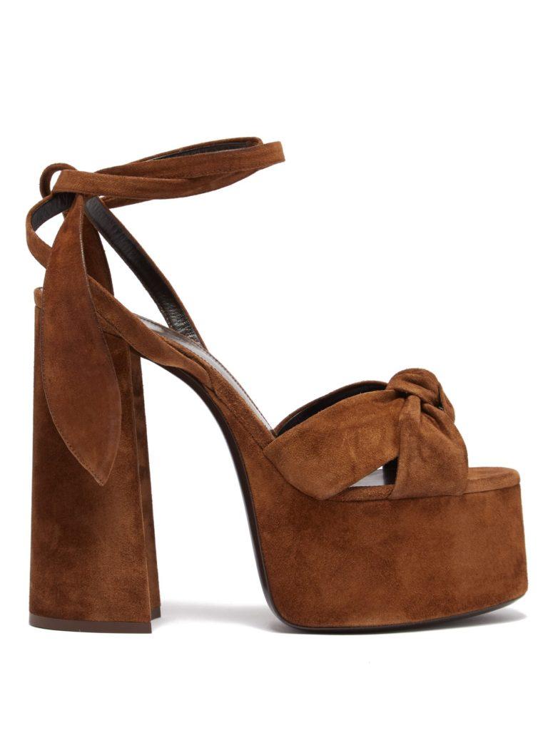 SAINT LAURENT Paige platform suede sandals $995