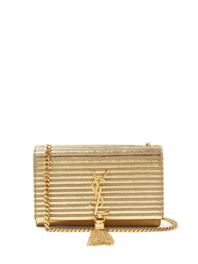 SAINT LAURENT  Kate striped lamé and leather cross-body bag $1,882