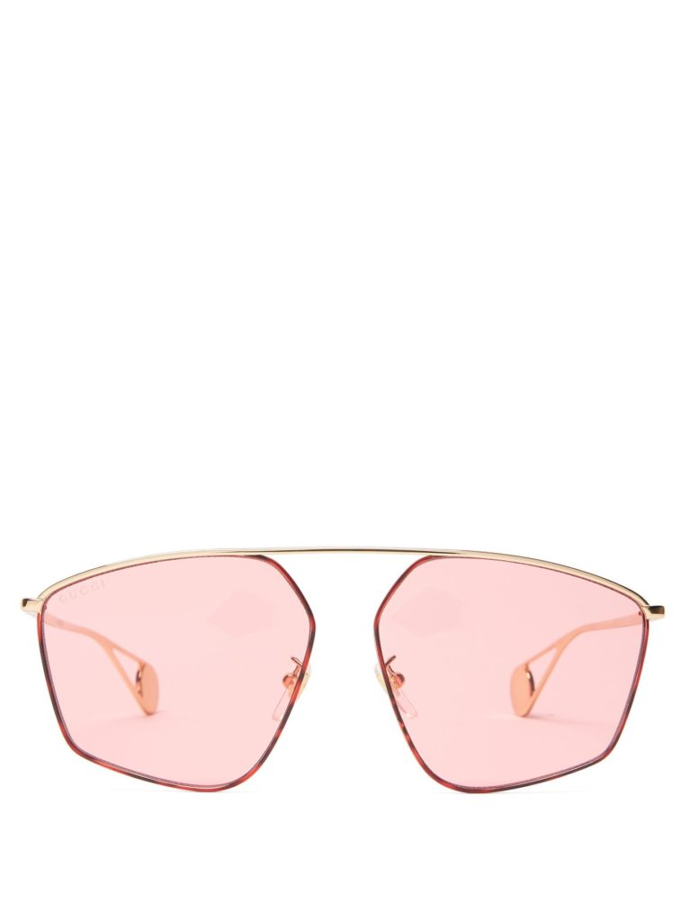 GUCCI Geometric aviator sunglasses $338