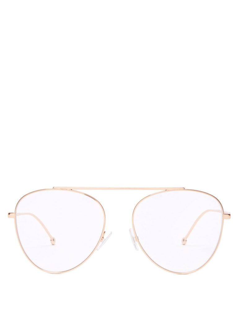 FENDI Round frame stainless-steel aviator glasses $234