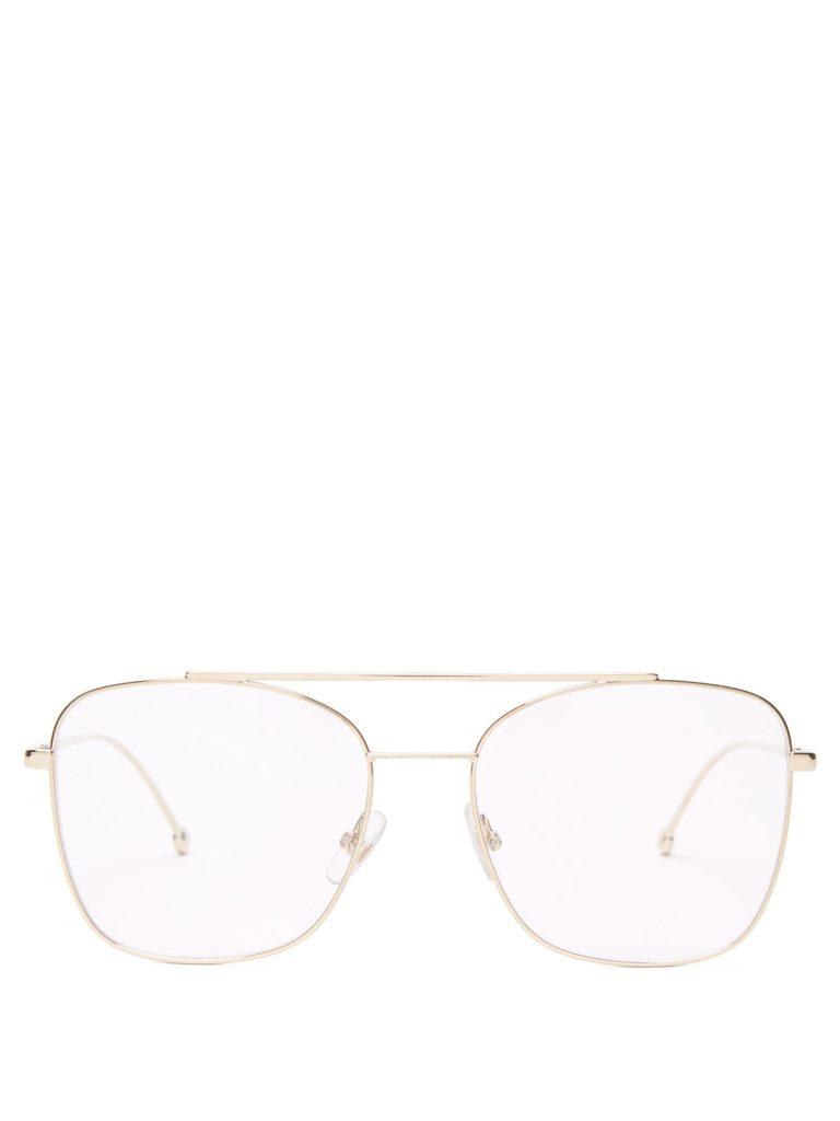 FENDI Square gold-tone glasses$234