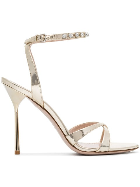 MIU MIU gold metallic crystal embellished 105 leather sandals $445.00