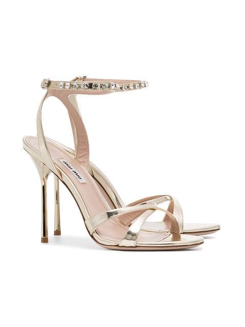 MIU MIU gold metallic crystal embellished 105 leather sandals $445.00