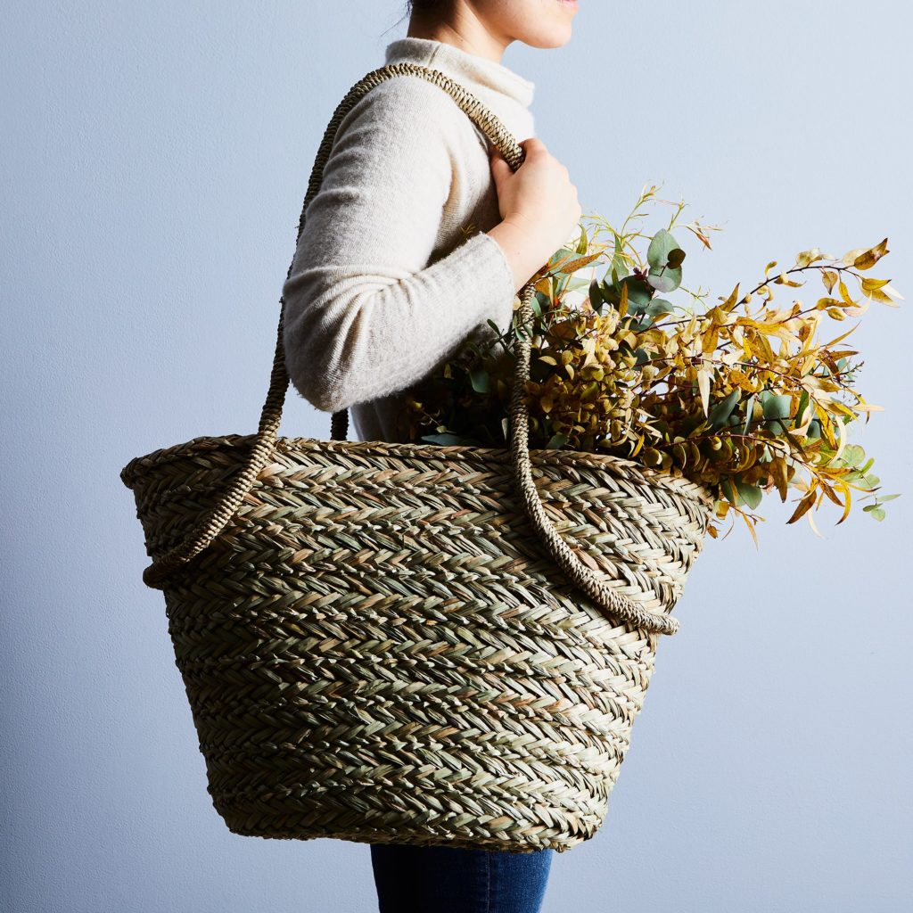 Seagrass Market Tote with Linen Liner $45
