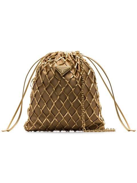 PRADA gold-tone metallic woven leather and satin pouch $970
