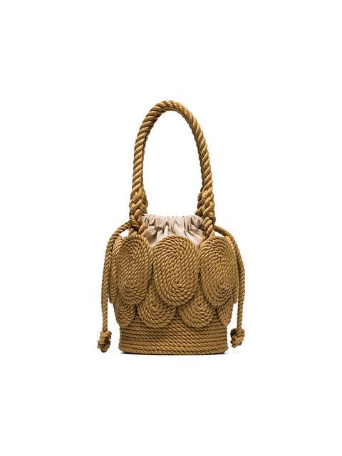 MEHRY MU sand brown Chacha Shell rope shoulder bag $282