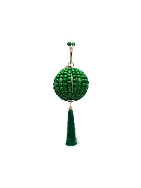 ROSANTICA green Billie bead wood and metal clutch bag $689