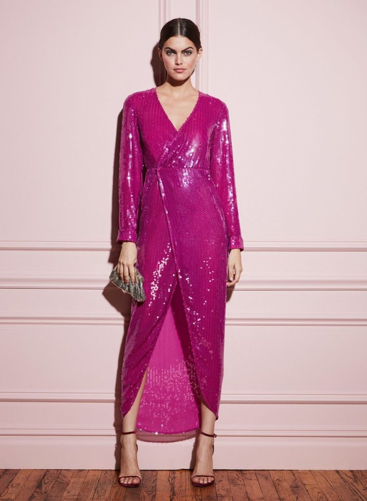 LONG SEQUIN WRAP DRESS $1,195.00