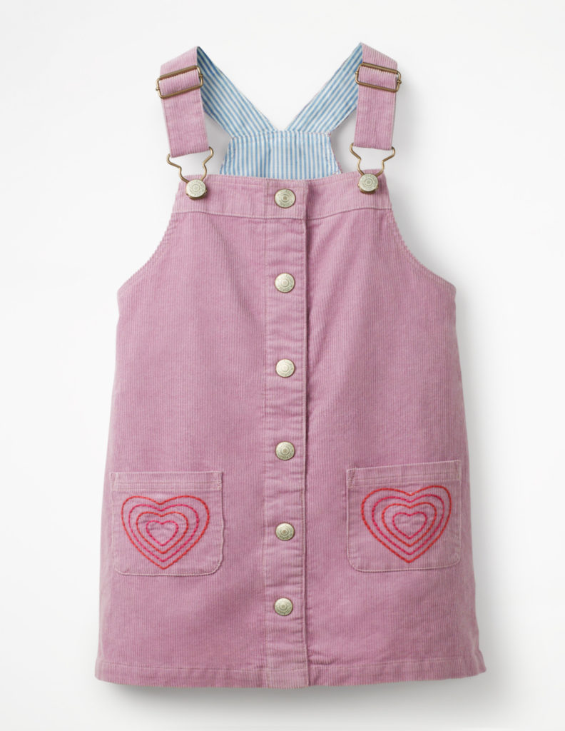 BUTTON-FRONT OVERALL DRESS $48.00