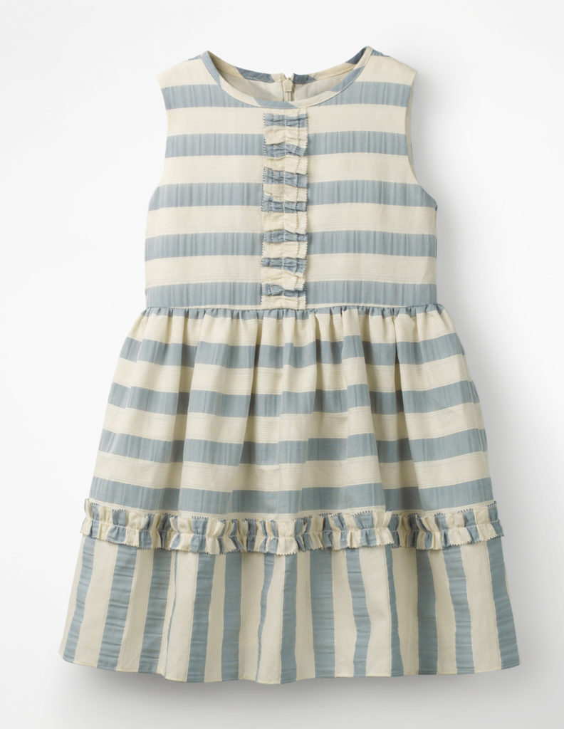 TEXTURED STRIPE RUFFLE DRESS  $85.00