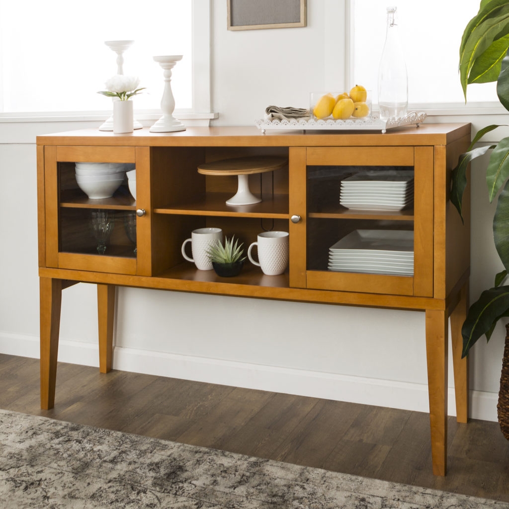 Mid-Century Modern Wood Buffet with Tapered Legs- Acorn $269.10