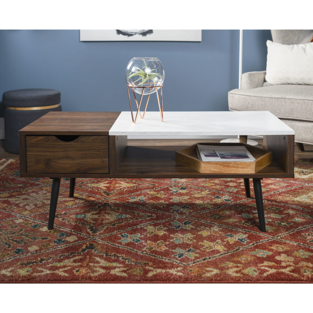 Mid Century Modern Wood and Faux Marble Coffee Table - Dark Walnut $179.00
